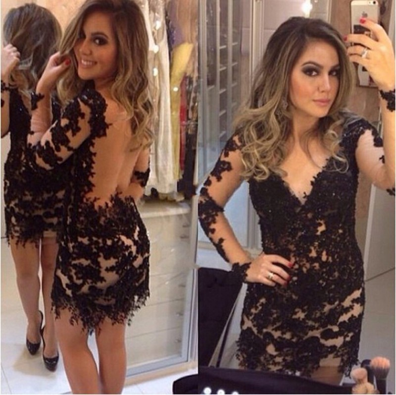 Sexy Black Lace Mermaid Dresses V Neck Illusion Long Sleeve Appliques Beaded Short Prom Gown For Weddings Cocktail Custom Made