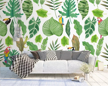 Beibehang 3d wallpaper mural watercolor tropical rainforest parrot Southeast Asian style Plant leaves Photo wallpaper behang wallpaper 3d southeast asian style wooden boat 3d wallpaper mural balcony living room decoration background