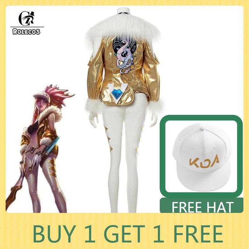 ROLECOS Game LOL KDA Akali Cosplay Costume LOL K DA Akali Prestige Edition Cosplay Costume Winter