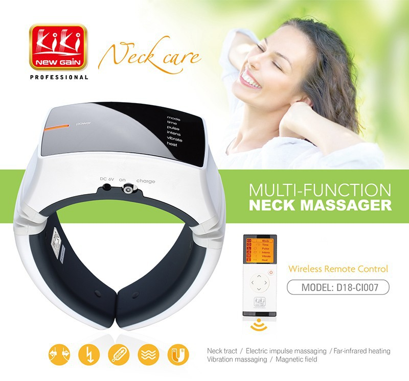 KIKI Beauty World.Wireless Remote Control Neck massager health care product Cervical therapy instrument massage tools 3