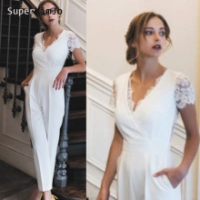 jumpsuit wedding dresses v neck lace appliques pleats short sleeve white bridal vestidos de noiva panty prom dress