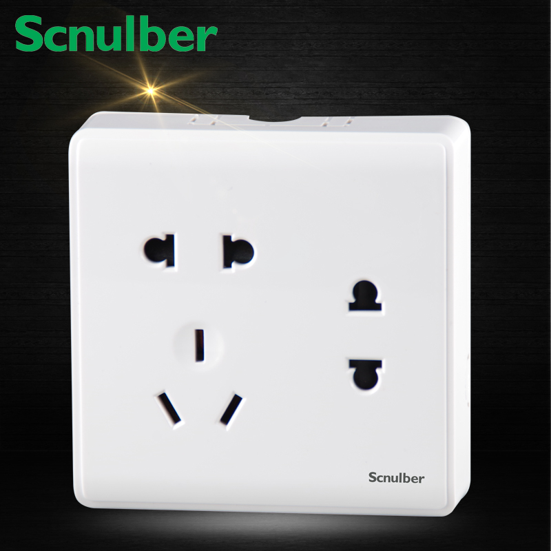 surface mounted 10A 250V 7 poles double 2 pins outlet with single 3 pins socket wall switch