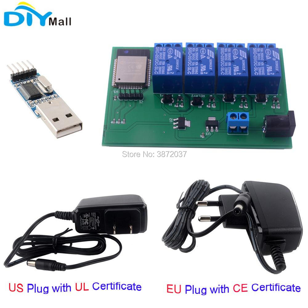 US $14 61 |ESP32 4 Channel Wifi Bluetooth Relay Module EU CE Power Supply  US UL Adapter Charger USB to TTL Converter Module for Android IOS-in Home