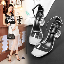 Leather sandals, 2017 new summer fashion all-match transparent buckle high-heeled shoes women big size