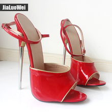 jialuowei Brand Women 2017 Summer Sexy Fetish 18CM High Heels Sandal Open-Toe Buckle Strap Mujer Dress Party Shoes Plus Size