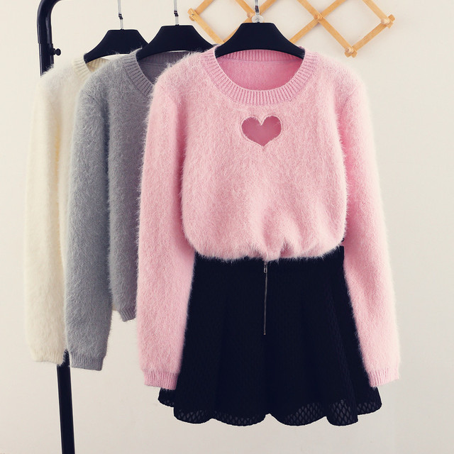 2017 Korean Sweet Sexy Woman Sweater Hollow Out Heart Knitting Blouse Mohair Pullover Crop harajuku sweaters 4 color