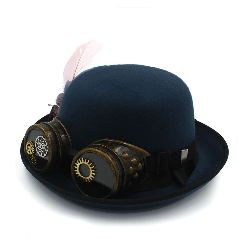 Classic Handwork Fedora Hat Steampunk Bowler Hat For Women Men Gear Glasses  Cosplay Hat Halloween Feather Party Top Hat-in Fedoras from Apparel  Accessories ... ff6c9f9421e