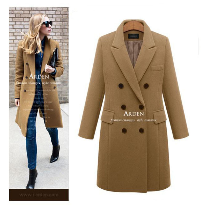 Casual Wool Solid Long Coat Ladies 2019 Autumn Winter warm coat Elegant Women Double Breasted Jackets Blazers Female clothes