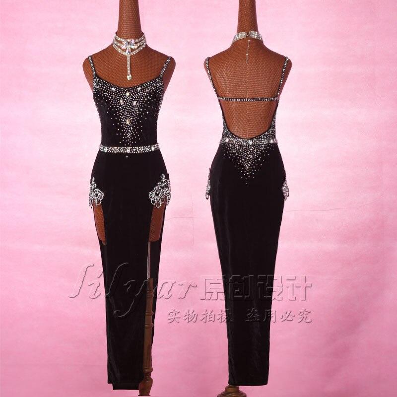 2019 Latin Dance Dress For Women Black Velvet Long Dress For Ballroom Dance Tango Dress Stage Performance Latin Dresses VDB156