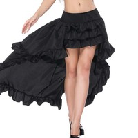 Gothic Skirts Womens Black Ruffles Front Short Back Long Skirt Steampunk Clothes jupe femme Plus Size