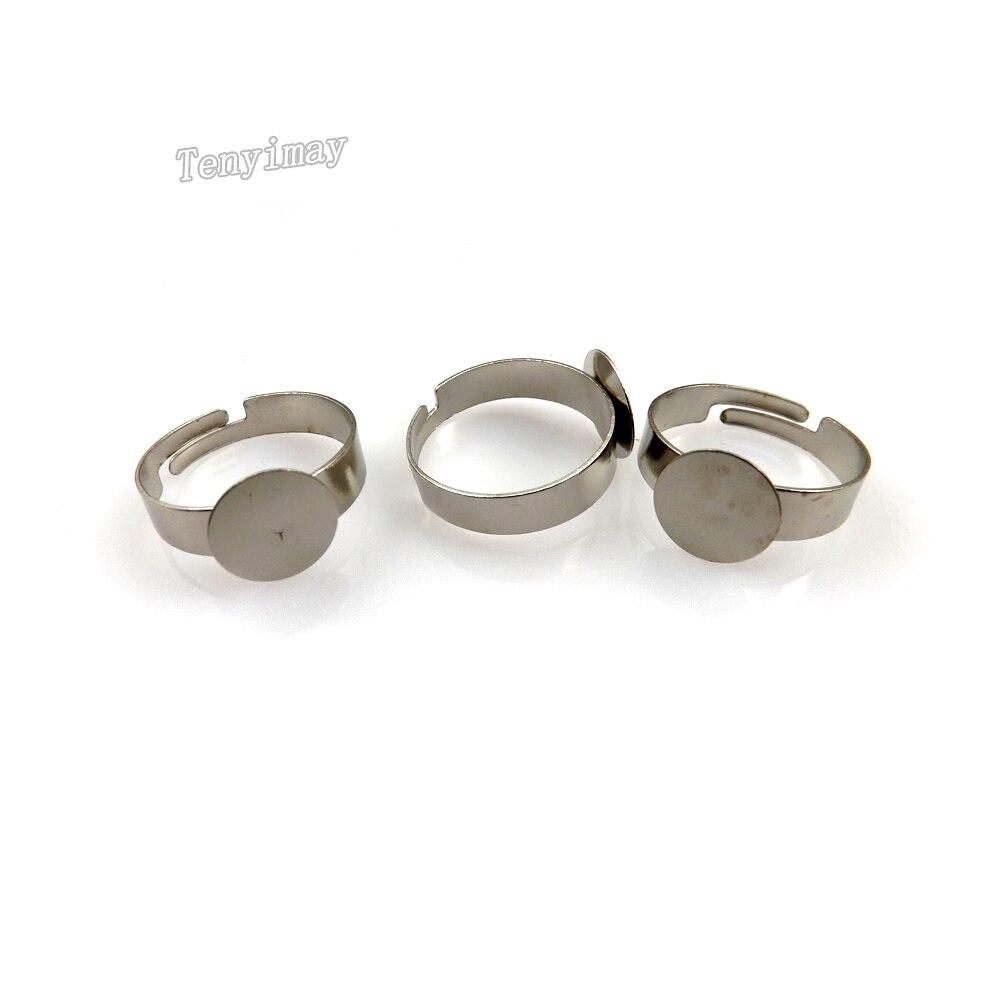 Free shipping 10mm metal plain ring setting adjustable 200pcs alloy ring base for DIY