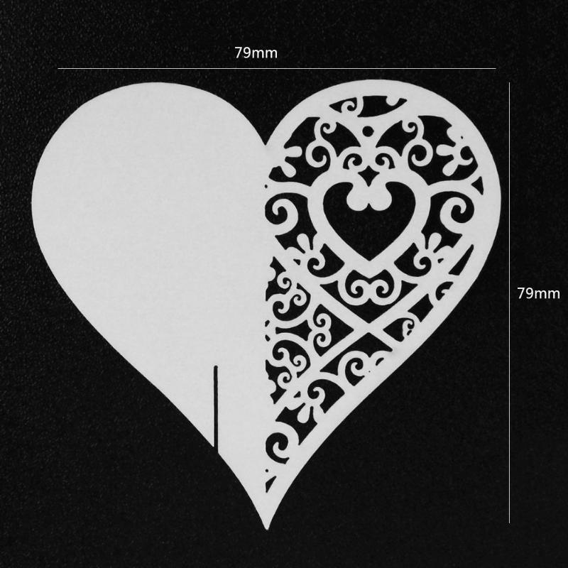 50pcs Heart Shape Cup Wine Glass Card Name Card Place Laser New Year ...