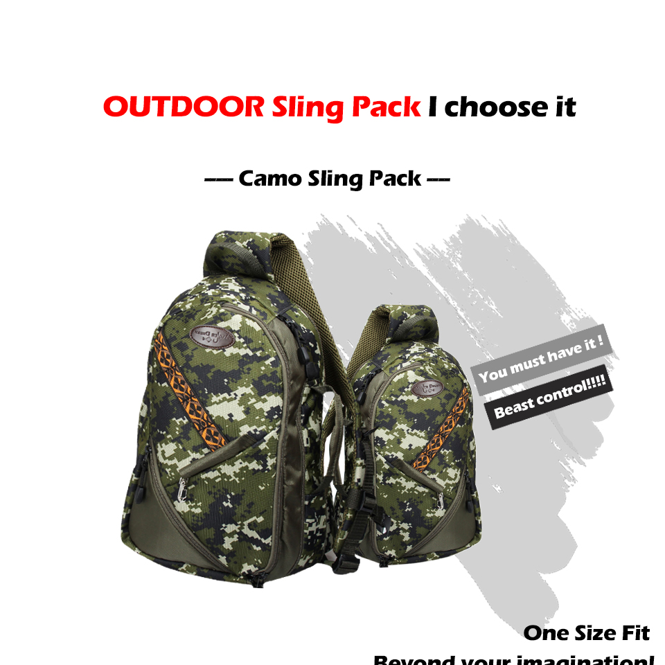 Camo Fly Fishing Sling Bag Adjustable Size Army Green Outdoor Sports Fishing Chest Bag Mutiple Pocket Hiking Hunting maximumcatch fishing sling back pack outdoorsport fly fishing sling bag with fly patch