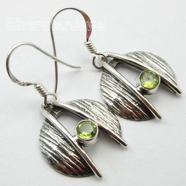 Silver Cut Peridot Earrings 3 1 Cm 8 Grams Tibetan Style Jewelry