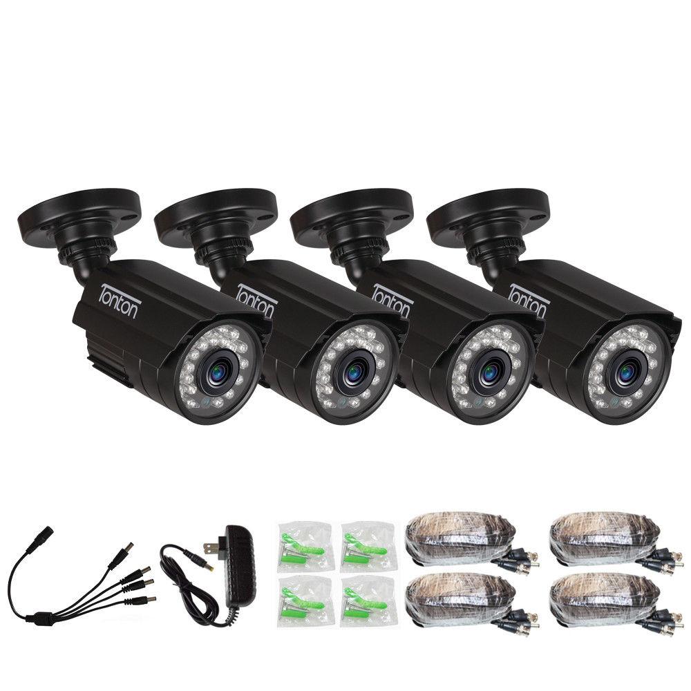 4 PACK CCTV Camera Analog 960H 1000TVL CMOS with IR Cut 24PCS Night Vision Outdoor CCTV