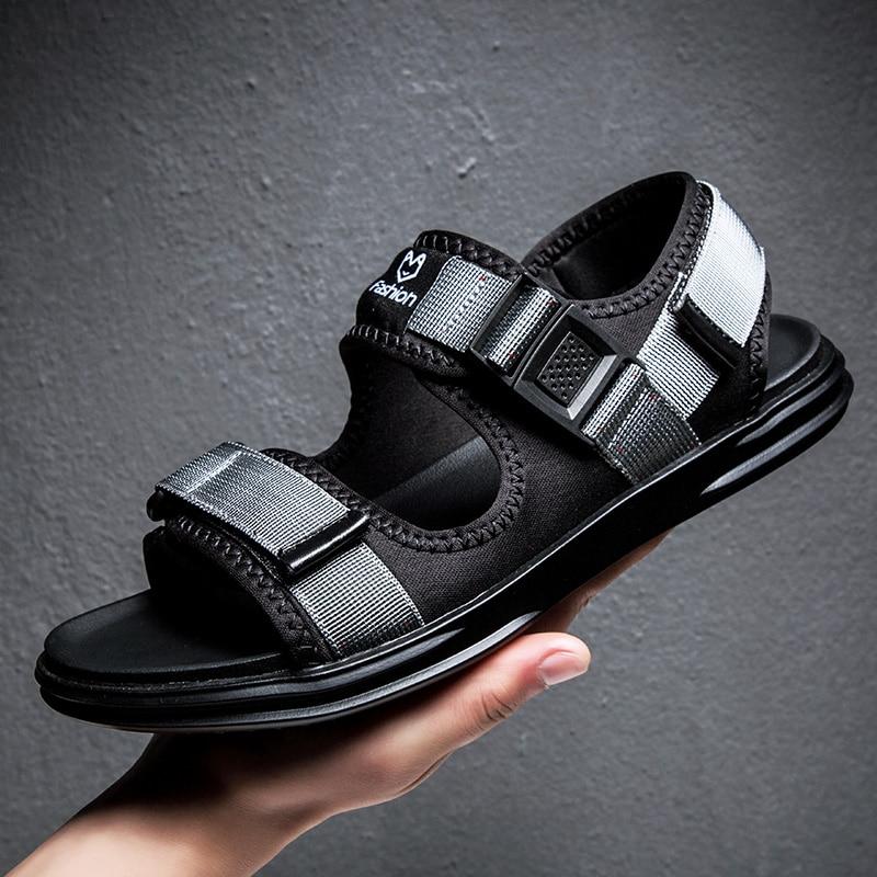 Para Respirável Verão Da azul Sandálias Do Homens Sapatos Ocos Zapatillas Hombre Praia Mens Preto Fivela Gladiador cinza xwPf08qT