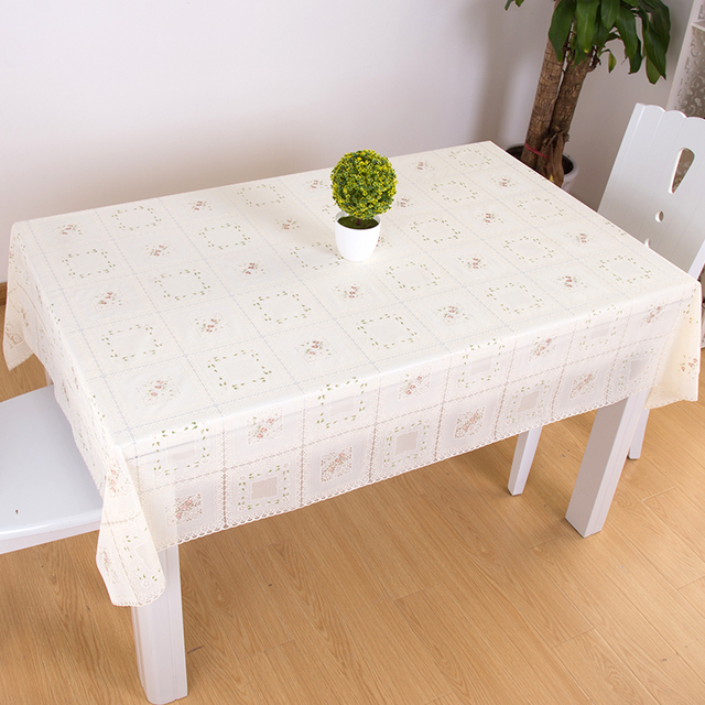 Charming Waterproof And Oil Proof Disposable PVC Tablecloth European Garden Table  Cloth Rectangular Plastic Tablecloth