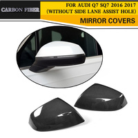 Carbon Fiber Replace Car Rearview Mirror Cap Covers for Audi Q7 SQ7 4 Door SUV S Line 2016 2017 Chrome ABS Without Side Assist