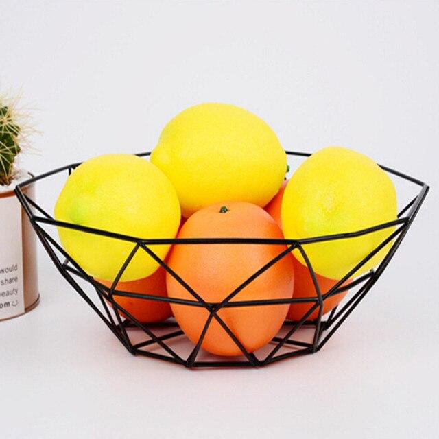 Geométrica Fruta Vegetal Cesta de Arame Tigela De Metal Desktop Display Mostrar Área de trabalho De Armazenamento De Cozinha Fruta Vegetal Vinho Trays513