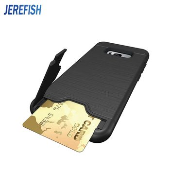 JEREFISH Case For Galaxy S8 S8 Plus PC+TPU Anti Shock Impact Brushed Texture Stand Card Slot Cover For Samsung s7 S7 Edge mobile phone