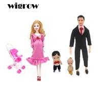 Wigrow Nueva Mujer Embarazada Doll Pelo de Oro 29 cm 2 Padres 2 Niños Cochecito de Bebé Juguete de Peluche Muñecas Para Niñas Jugar casa