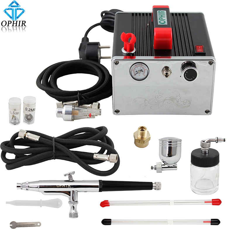 OPHIR 0.2mm 0.3mm & 0.5mm Dual-Action Airbrush Kit with Air Compressor for Cake Decorating Nail Art Model Hobby Paint_ AC091+074 ophir temporary tattoo tool dual action airbrush kit with air tank compressor for model hobby cake paint nail art ac090 ac004