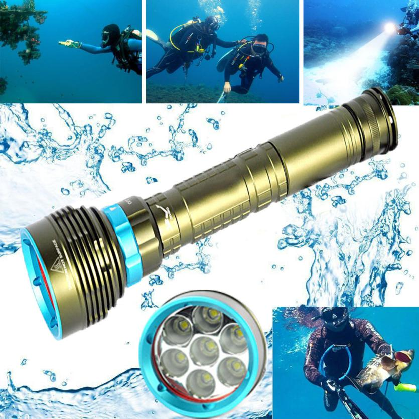 Underwater 200m 20000LM 7x XM-L2 LED Scuba Diving Flashlight 3X18650/26650 Torch Zoomable with Extension Tube Outdoor Light P40
