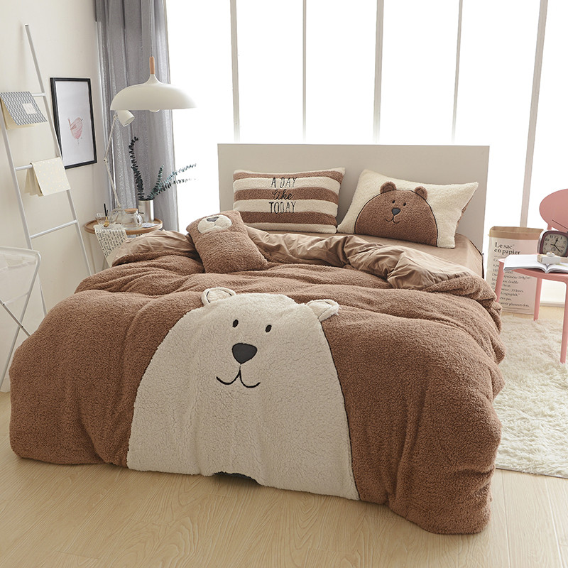 Cute dog bear bed linen designer winter warm bedding sets Cashmere bedding set housse de couette quilt cover set