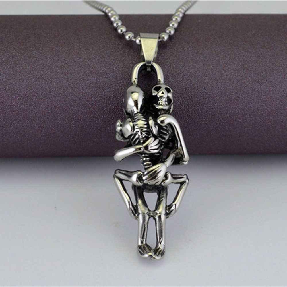 2019 nowy 1 pc Hot Men nieskończoność srebrny czarny czaszka ze stali nierdzewnej łańcuszek z wisiorem naszyjnik fine jewelry Best Friend prezenty spda8a61