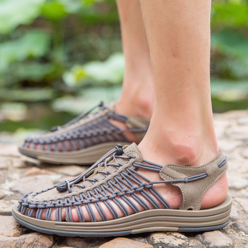 2019 Weaving Design Men Summer Fashion Sandals Size 38-46 Quality Comfortable Male Breathable Casual Shoes Beach Water Sandals(China)