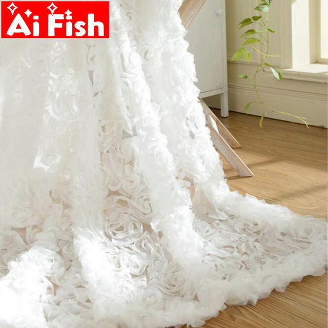 Pastoral Korean Creative White Lace 3D Rose Curtains Voile Custom Window Screens For Marriage Living Room Bedroom wp148-30