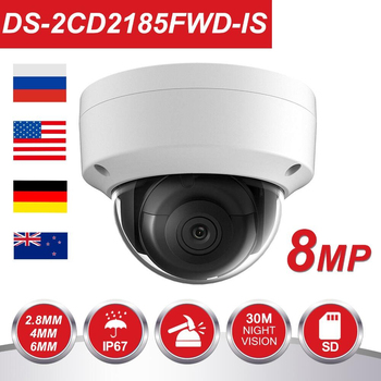 Originale HIK 8MP IP Della Macchina Fotografica DS-2CD2185FWD-IS Ourdoor 8 Megapixesl Dome Video Sorveglianza POE Cam Built-In Slot SD Interfaccia Audio