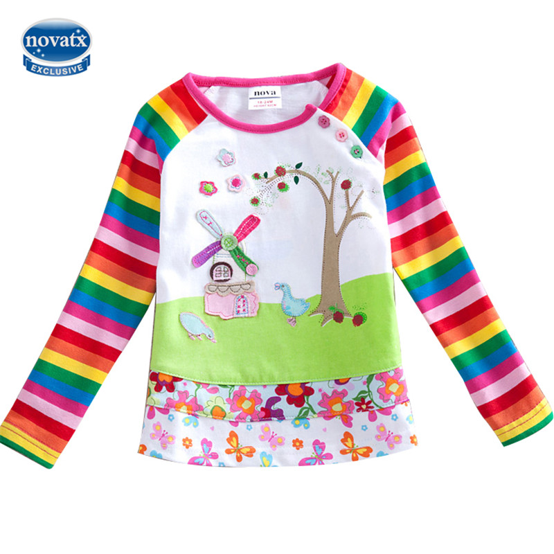 novatx F1411 Nova kids brands children clothes girls t-shirt scenery printed spring autumn long sleeves O-neck clothes for girl scoop neck long sleeves printed stylish dress for women