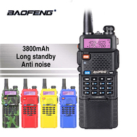 Baofeng UV 5R 5W 3800mAh 7.4V Battery Walkie Talkie UV 5R Portable UHF VHF 136 174MHz 400 520MHz Two Way Radio Ham PTT CB Radio