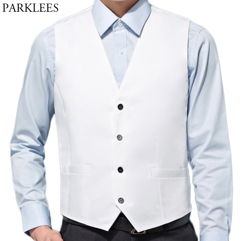 White Wedding Dress Suit Vest Men Casual Solid Color Slim Fit V Neck Male Business Work Waistcoats Colete Social Masculino XXXXL