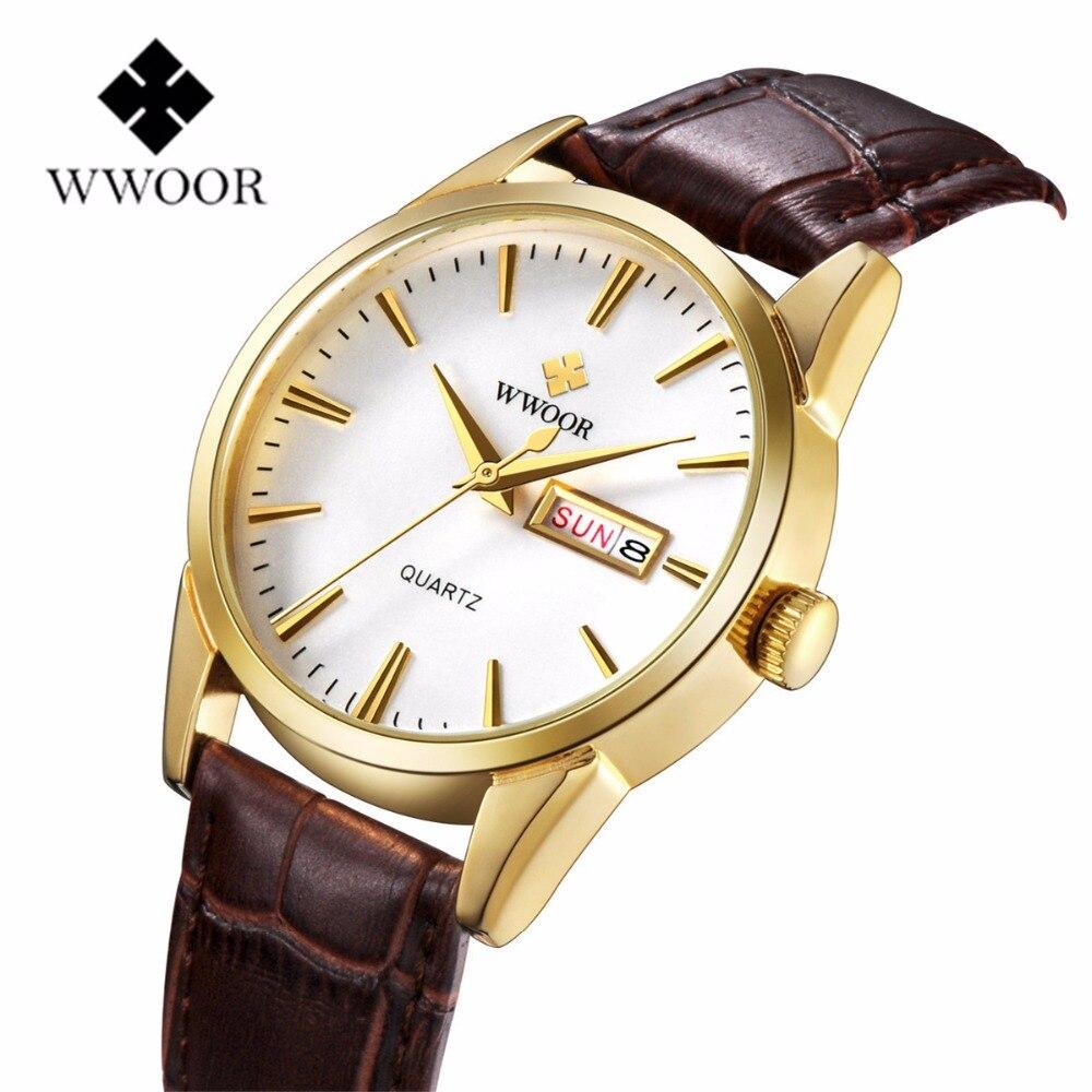 ФОТО WWOOR Brand Leather Strap Golden Dial Male Date Clock Men Fashion Quartz-Watch Analog Wristwatches for Men Relogio Masculino
