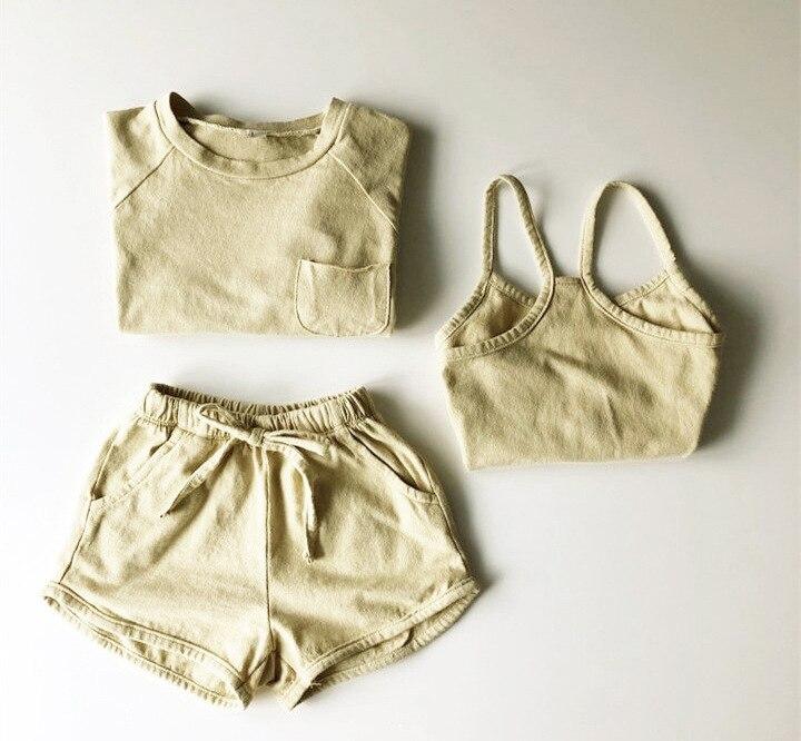 e meninas três peças condole cinto multicolorido algodão shorts conjunto