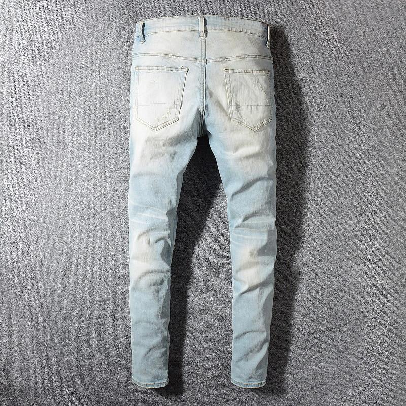 Sokotoo Men's patchwork bandanna paisley printed biker jeans Light blue holes ripped skinny stretch denim pants Trousers