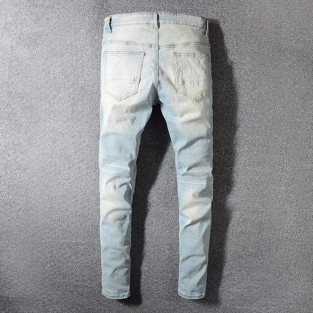 Sokotoo Men's patchwork bandanna paisley printed biker jeans Light blue holes ripped skinny stretch denim pants Trousers 28