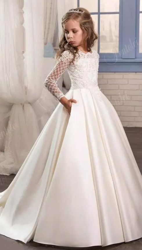 2019   Flower     Girl     Dresses   2017 New Sheer Long Sleeves First Communion Birthday Party   Dresses     Girls   Pageant   Dress