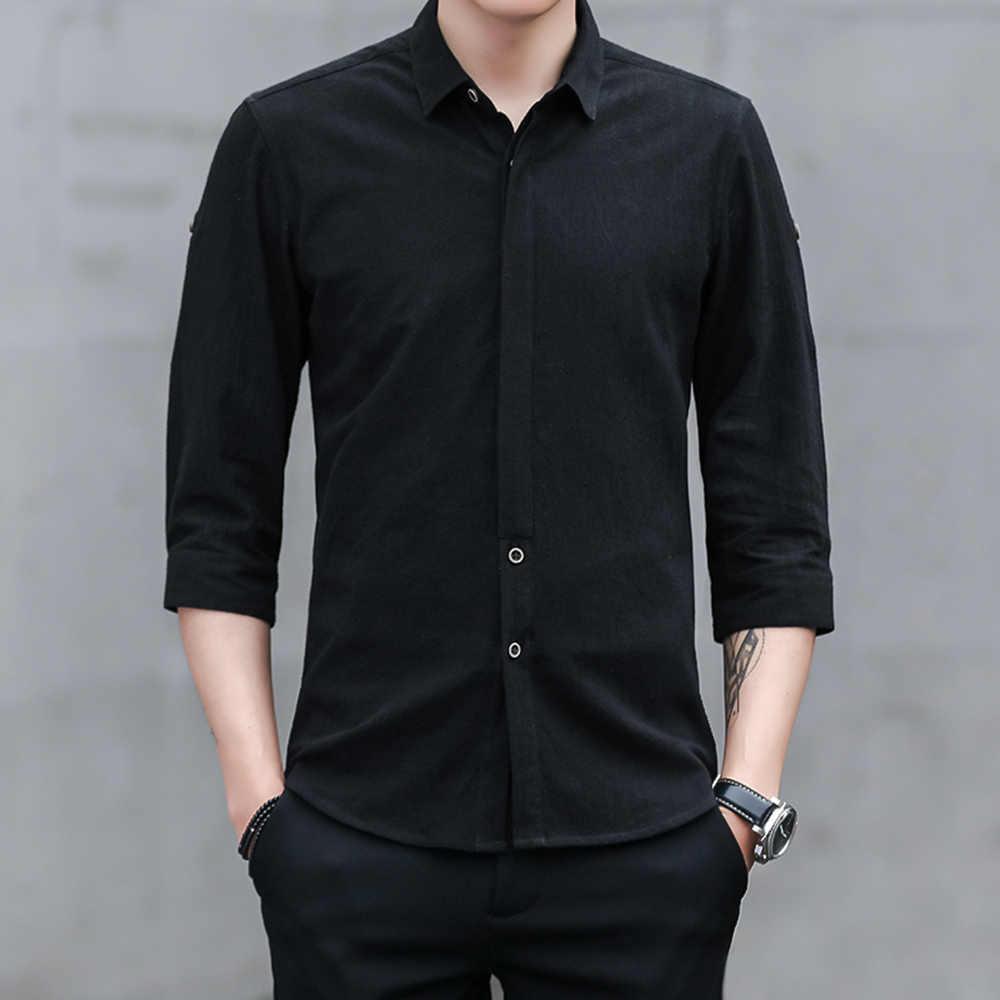 新しいメンズシャツ若いファッションビジネススーツ無地ハーフスリーブラペル正式な綿トレンドカジュアル男性白シャツ4xl