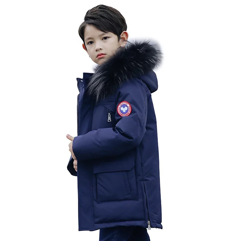 Boy Winter Jackets with Fur Warm Long Thick Fashion Childrens Kids Winter Jacket for Boy Teenage Clothing 8 10 12 14 Year