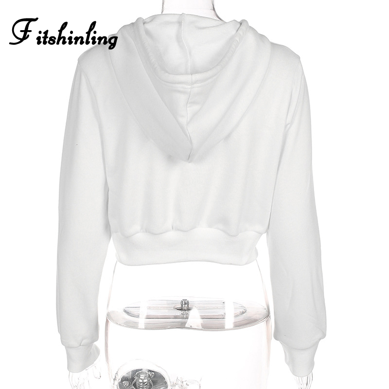Fitshinling Zip-up autumn winter women hoodies pockets slim crop jacket female clothes drawstring white sexy hoody cotton coats 11