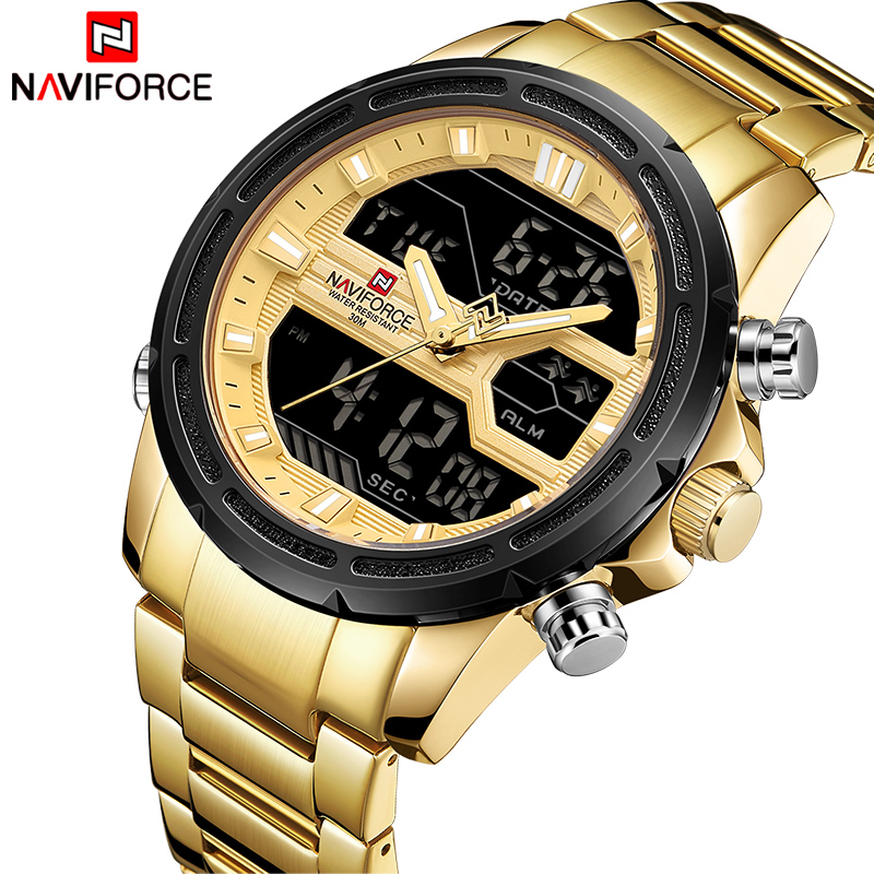 2018 New NAVIFORCE Men Fashion Sport Watches Men's Gold Quartz Watch Male Stainless Steel Waterproof LED Analog Digital Clock mens watches luxury fashion sport watch naviforce brand men quartz analog digital clock male waterproof stainless steel watches