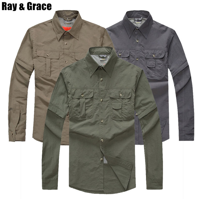 RAY GRACE Quick Dry Outdoor Summer Men s Shirts Removable Hiking Shirt Breathable Sports Fishing Trekking