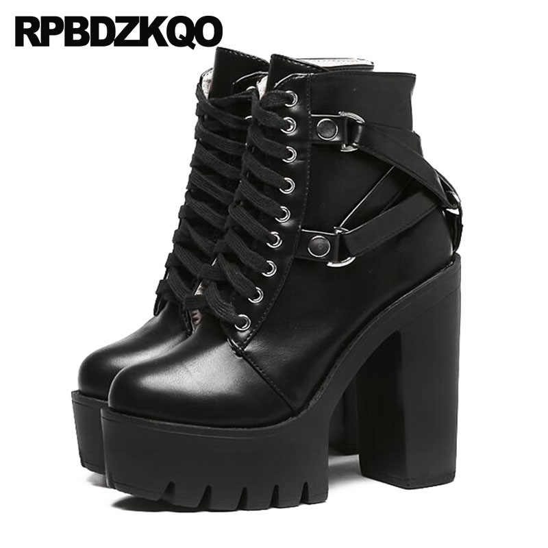 8e133d848ed Detail Feedback Questions about Shoes Military Autumn Combat High Heel  Booties Waterproof Chunky Biker Gothic Platform Boots Punk Women Black Lace  Up ...