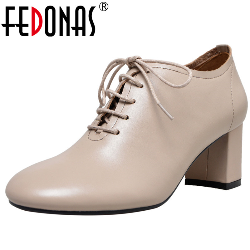 FEDONAS Retro Women Genuine Leather High Heels Shoes Woman Round Toe Vintage Comfort Office Pumps Ladies