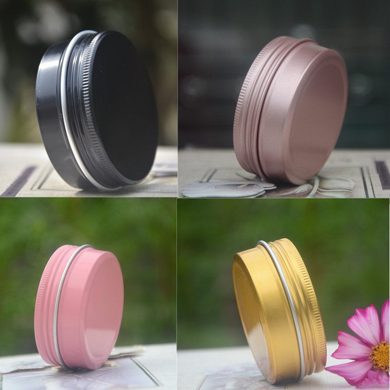 50pcs/lot 10g 30g 60g Colorful Cosmetic Aluminum Jars Pink Black Gold Personal Care Cream Mask Soap Packaging Container Pots