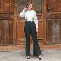 VOA Лето 2017 г. тяжелый шелк офисные бело Для женщин комбинезоны мода люкс с длинным рукавом вышивки Тонкий костюм брюки клеш KLX00101