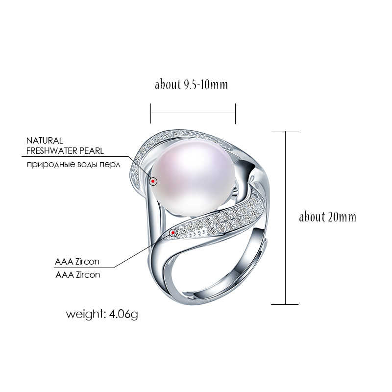HENGSHENG ธรรมชาติ Pearl Zircon แหวนผู้หญิง,มุกแท้,สีขาว/Black Pearl, แฟชั่นโรแมนติก 925 แหวนเงิน 2019